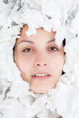Ill Woman with Paper Tissues — Foto de Stock