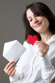 Woman with Heart and Envelope — Stock Photo