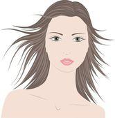 Illustration vectorielle de la mode belle femme avec les cheveux longs — Vecteur