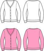 Vector illustration of women's cardigan — Stock Vector