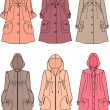 Vector illustration of women's raincoats — Stock Vector