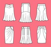Vector illustration of women's skirts — Stock Vector