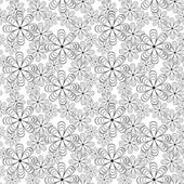 Black-and-white flower seamless pattern — Stock Vector