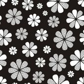 Black-and-white seamless flower pattern — Stock Vector