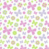 Seamless pattern with flowers and butterflies — Stock Vector