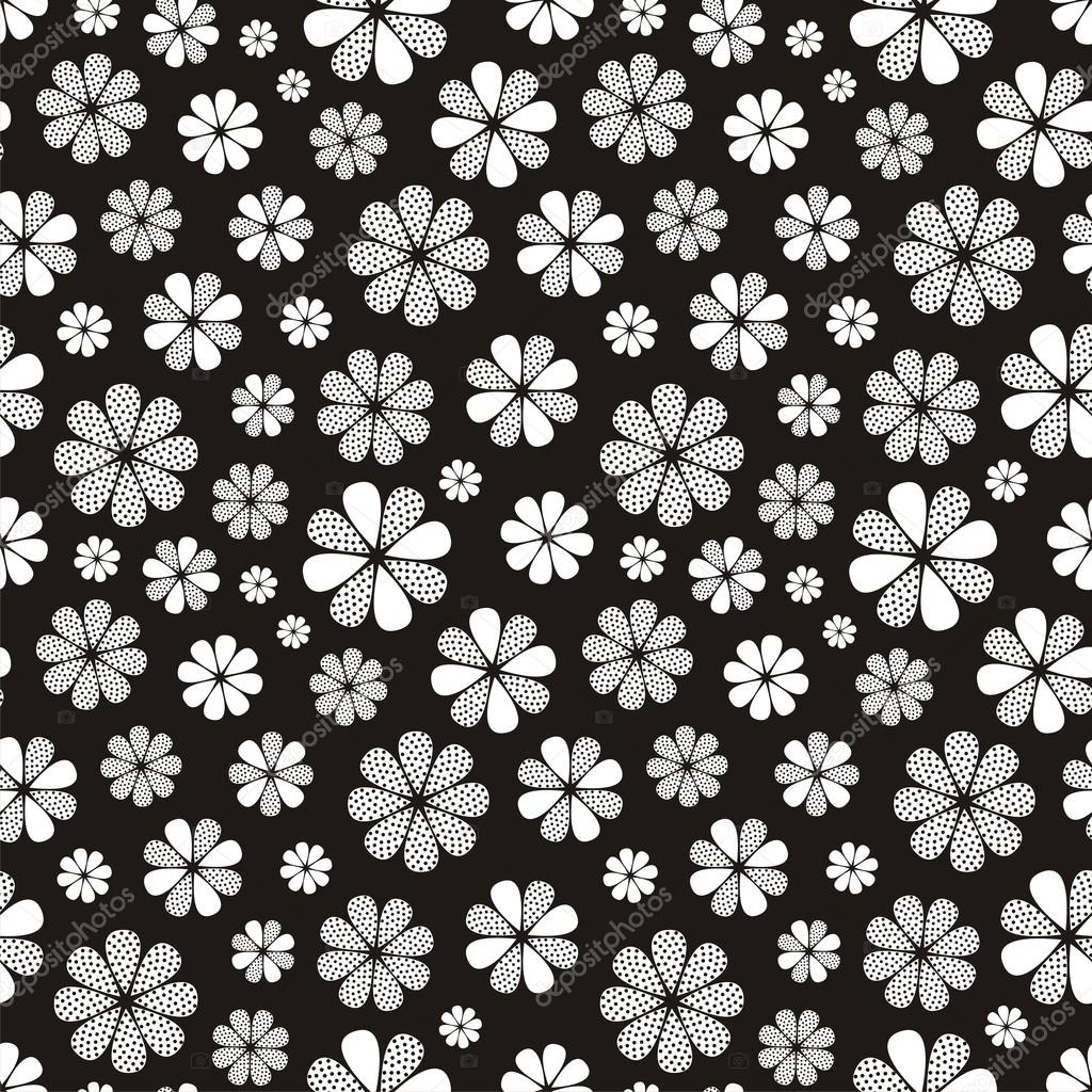 Black-and-white seamless flower pattern — Stock Vector ...