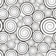 Black-and-white spirals seamless pattern — Stock Vector