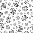 Black-and-white rose seamless pattern — Stock Vector