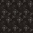 Stock Vector: Black-and-white seamless pattern with abstract flowers
