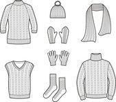 Sweater, waistcoat, cap, scarf, socks, mittens, gloves — Stock Vector