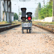 Red semaphore on railway — Stock Photo