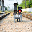 Stock Photo: Red semaphore on railway