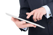 Tablet pc i en affärsman händer — Stockfoto