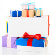 Stock Photo: Gift box with blank card