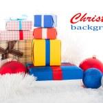 Vánoční pozadí. Dárkové boxy — Stock fotografie