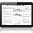 Tablet pc with business news on screen. — Stockfoto