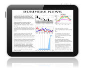 Tablet pc with business news on screen. — Stock Photo
