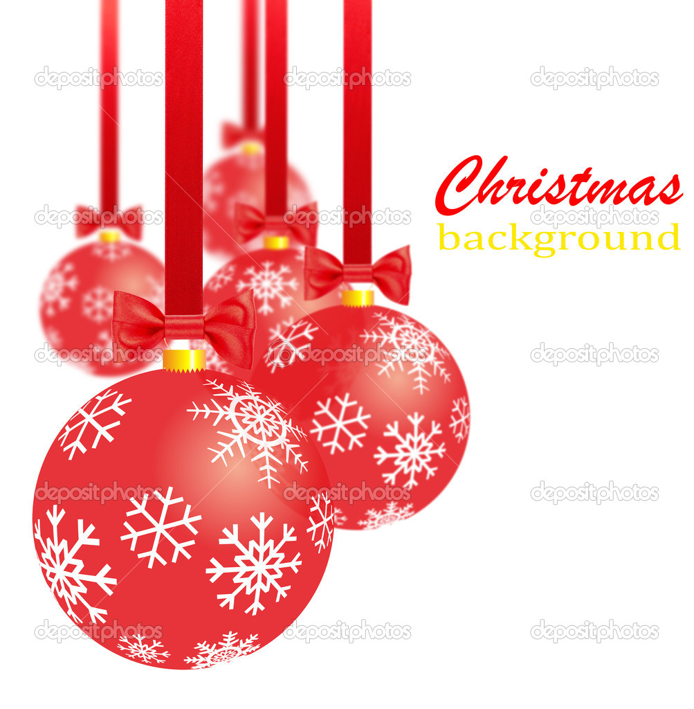 Transparent red christmas decorations, bows and ribbons — Stock Photo #16780209