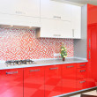 Kitchen red and white — 图库照片