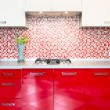 Kitchen red and white - Stock Photo