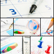 Collage of business chart — Stock Photo