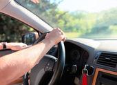 Man driving a car. Inside shoot — Stock Photo