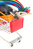 Electric tools in a cart — Stock Photo