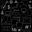 Set of  icons on chalkboard — Stock Photo