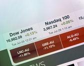 Dow Jones and Nasdaq indexes on iPad display — Stock Photo