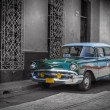 Old car in Cuba, Havanna, green colourized — Stock Photo