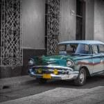 Old car in Cuba, Havanna, green colourized — Stock Photo