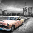 Old car in Cuba, Havanna, pink colourized — Stock Photo