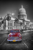 Red old car at Capitol, Havanna Cuba — Stock Photo