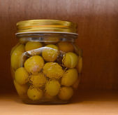 Olives in jar — Stock Photo