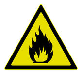Warning sign of flammable materials — Stock Vector