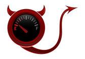 Kwaad gas gage toont bijna leeg brandstofniveau — Stockvector