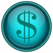 Blue vector dollar icon — Stock Vector