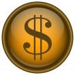 Stock Vector: Golden vector dollar icon