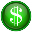 Green vector dollar icon — Stock Vector