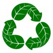 Vector illustration of recycle symbol in form of leafs — Vettoriali Stock