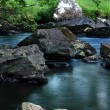 Rocks in fast mountain river — Stok fotoğraf