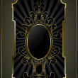 Royalty-Free Stock Obraz wektorowy: Black gold-framed label. (gradients, transparent ojects). Vector illustration