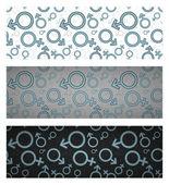 Gender icon seamless pattern set. Vector illustration — Stock Vector