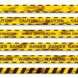 Set of grunge warning tapes isolated on white background. Warning tape, danger tape, caution tape, danger tape, under construction tape — Stock Vector