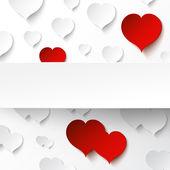 抽象的な紙の心の背景 — ストックベクタ