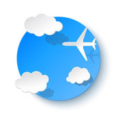 纸地球云层和飞机。假期或业务演示文稿的背景 — 图库矢量图片