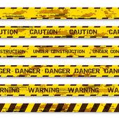 Set of grunge warning tapes isolated on white background. Warning tape, danger tape, caution tape, danger tape, under construction tape — Stock Vector