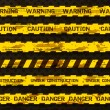 Set of grunge warning tapes isolated on dark background. Warning tape, danger tape, caution tape, danger tape, under construction tape — Imagens vectoriais em stock