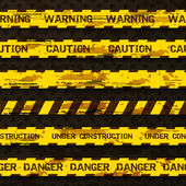 Set of grunge warning tapes isolated on dark background. Warning tape, danger tape, caution tape, danger tape, under construction tape — Stock Vector