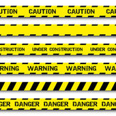 Set of warning tapes isolated on white background — Stock Vector